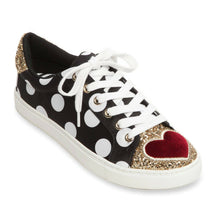Blair Dot Black Gold Glitter Red Heart Sneakers