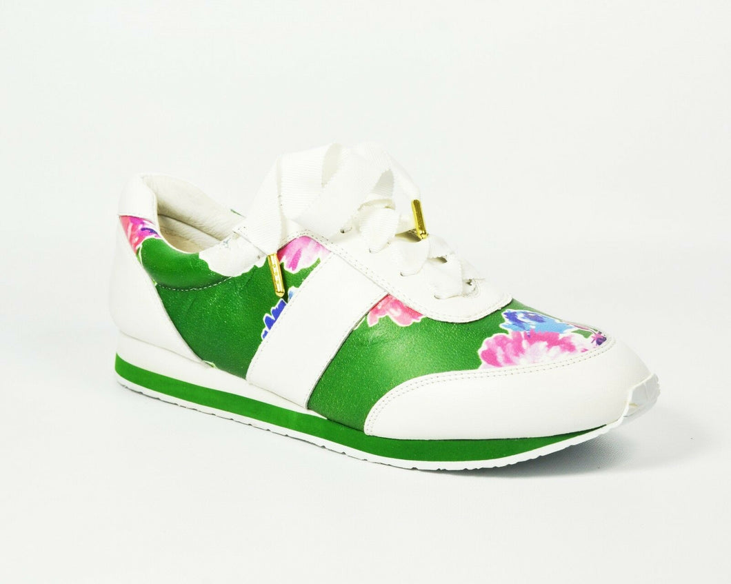 SIDNEY Lucky Green Blooms Leather Sneakers Size US Women 7.5