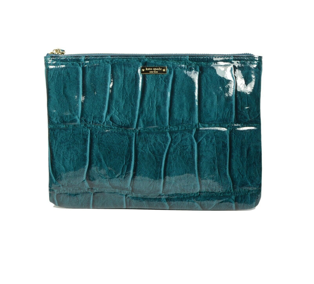 Knightsbridge Gia Pouch Croco Embossed Patent Leather