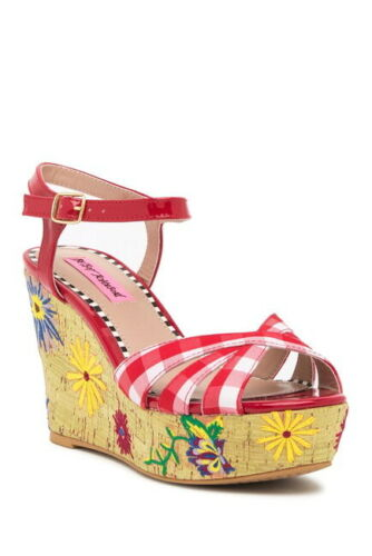 Traci Platform Wedge Sandals Red Multi Gingham Floral