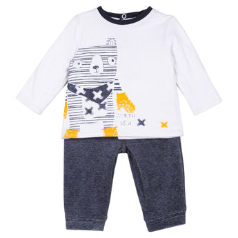 3 Pommes Navy T-Shirt And Pants Outfit