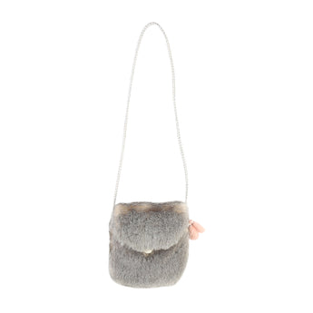 Carrement Grey Girls Faux Fur Bag With Tassle