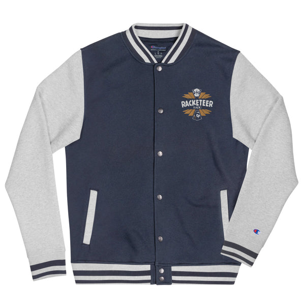 Gold Racketeer Radio Embroidered Champion Bomber Jacket - The Hartmann Company