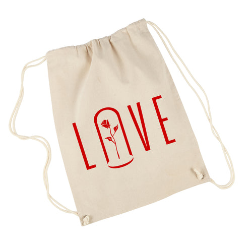 LOVE | Canvas Drawstring Backpack | Natural