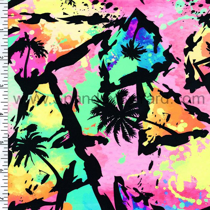 SP-NP2613 Neon Beach Nylon Spandex Digitally Wet Print | swimwear Print | Yoga wear Print | Legging Print Spandex, Wet Print- Spandexbyyard - fabrics, fabric for swimwear, fabric for yogawear, swimwear fabric, yogawear fabric, fabric sublimation, sublimation fabric, los angeles, california, usa, spandex, sale, swimwear, yoga wear, lycra, shiny, neon, printed, fabric by the yard, spandex lycra, nylon lycra, lycra fabric