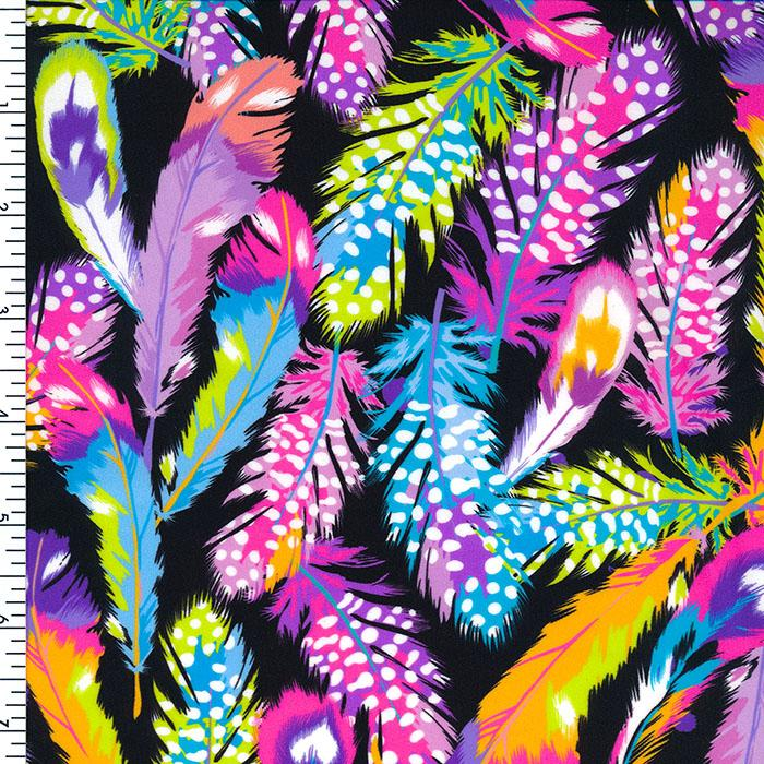 SP-NP-SPT102 Multi Feather Printed Spandex