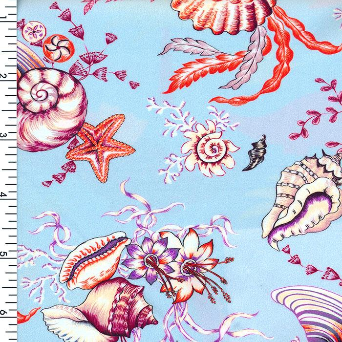 SP-NP2675 Ocean Shell Party - Blue Beige White | Nylon Spandex Digitally Wet Print
