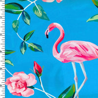 SP-NP2677 Flamingo & Rose - Blue Pink Green | Nylon Spandex Digitally Wet Print