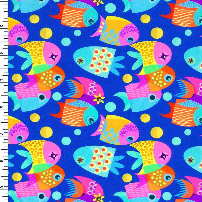 SP-NP2695 Happy Fish Nylon Spandex Digitally Wet Print