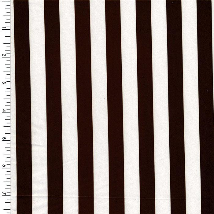 SPT22 | stripes, Brown & White Poly-Spandex Tricot four Way Stretch