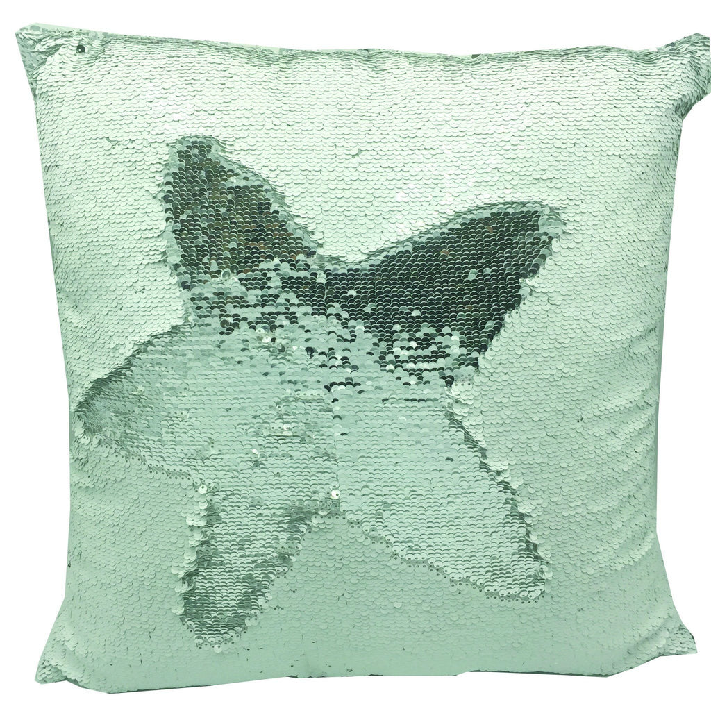"Magic Mermaid Sequin Home Decorative Throw Pillow Cover 18"" x 18"" Sequins Front With Insert - ZBAZAAR"
