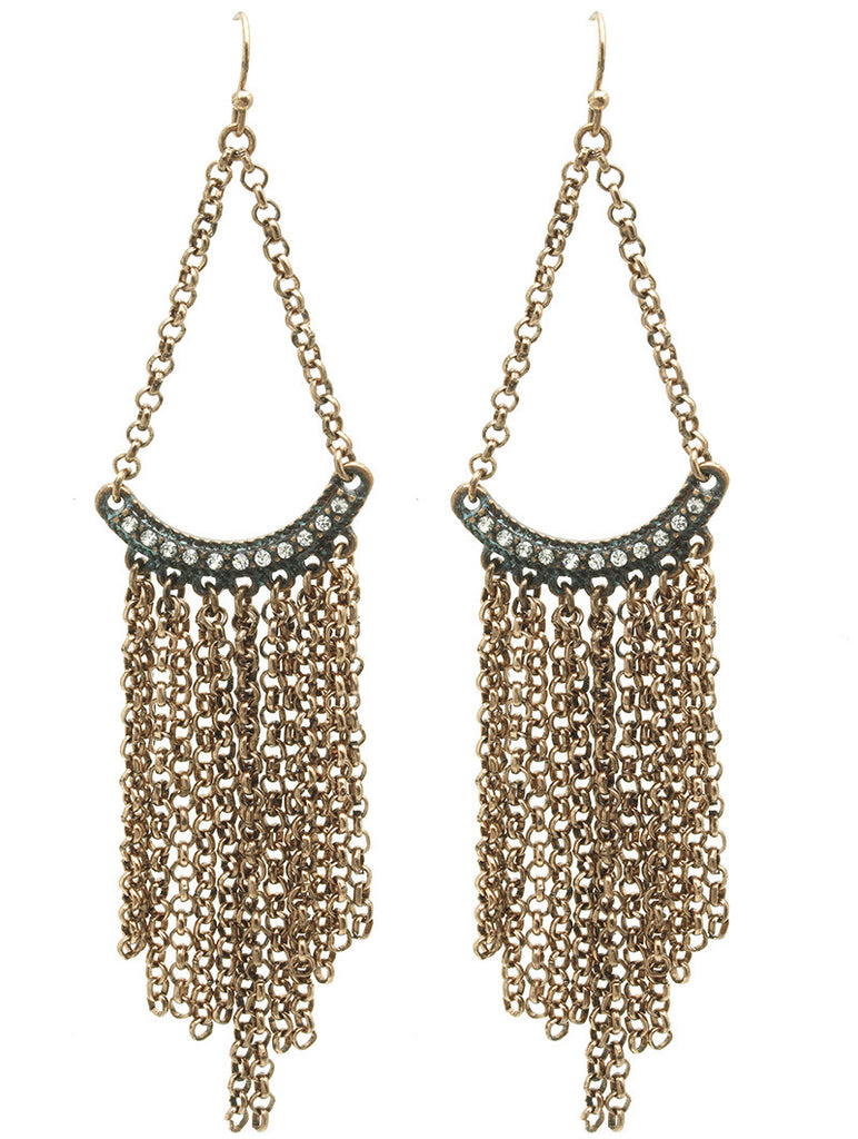 Textured Gold Chain Fringe Earring