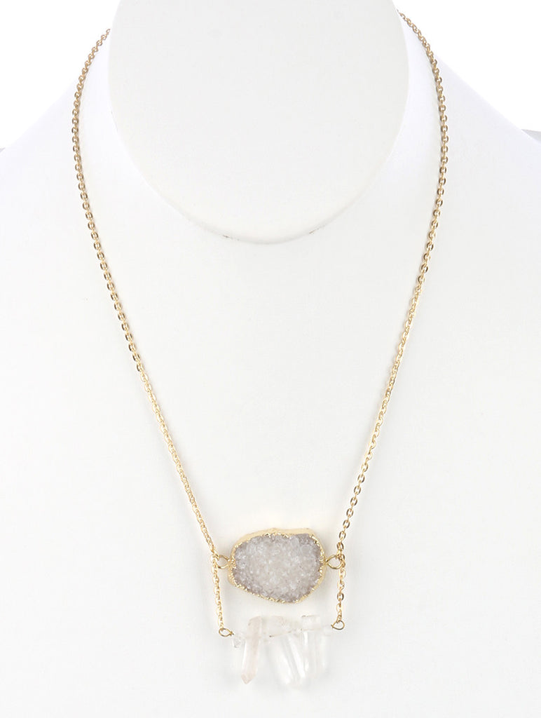 Natural Shimmer Stone Double Layer Necklace ( 3 in stock )