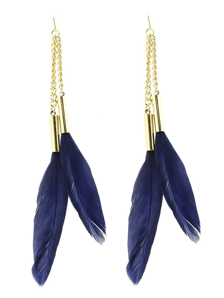 Double Feather Chain Earring