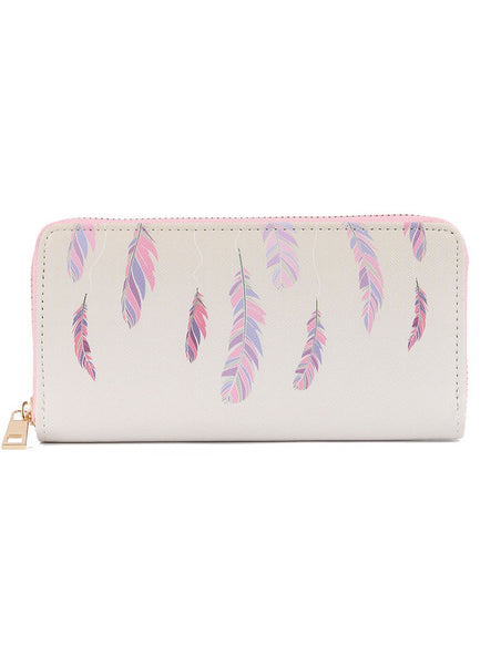 Pink and Lavender Feather Print Clutch