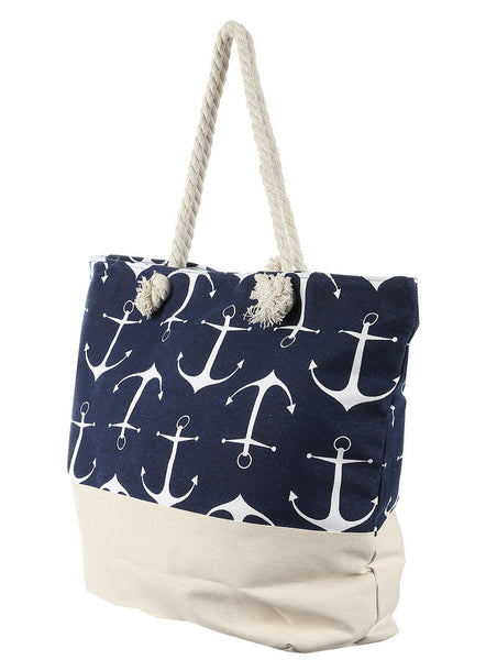 Anchor Navy Beach Tote