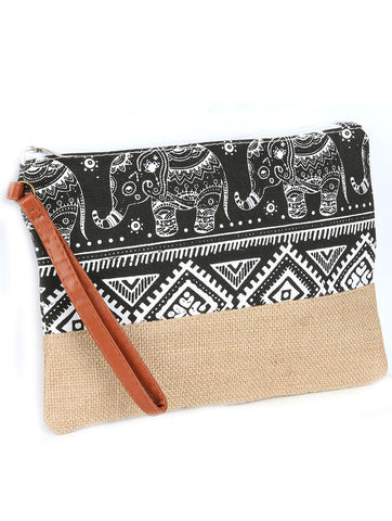 Burlap Black Elephant Print Clutch