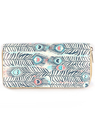 Feather Print Clutch
