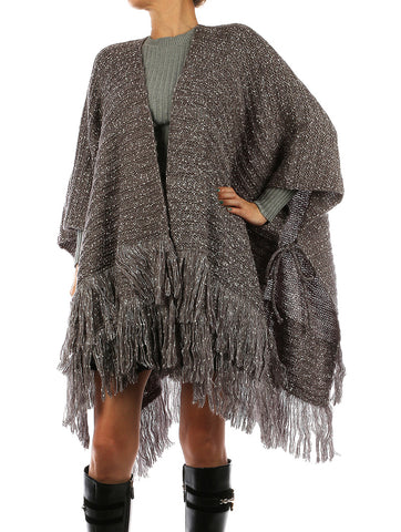 Ruana Knitted Gray Overlay