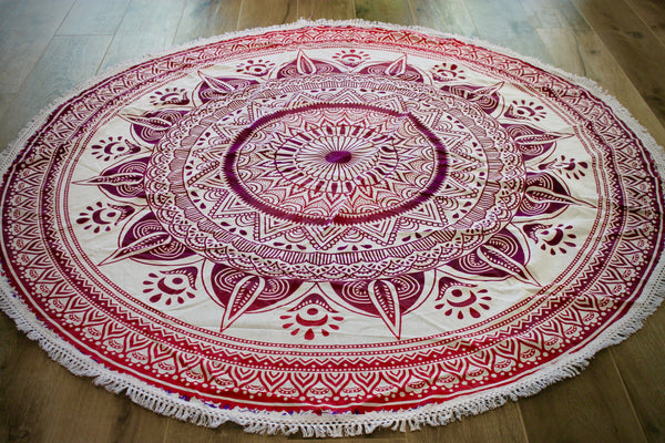 Gypsy Tribal Ombre Mandala India Tapestry- Lace Round