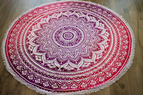 Gypsy Burst Ombre Mandala India Tapestry- Lace Round