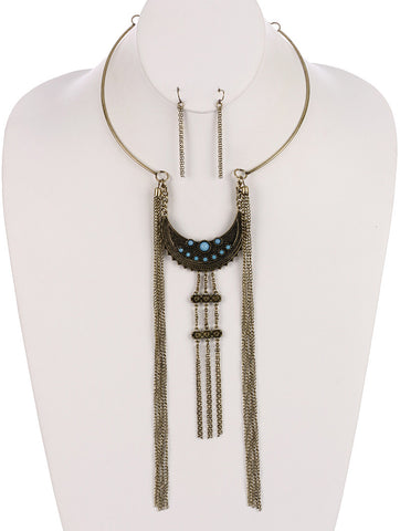 Lucite Stone Crescent Bohemian Necklace and Earring Set