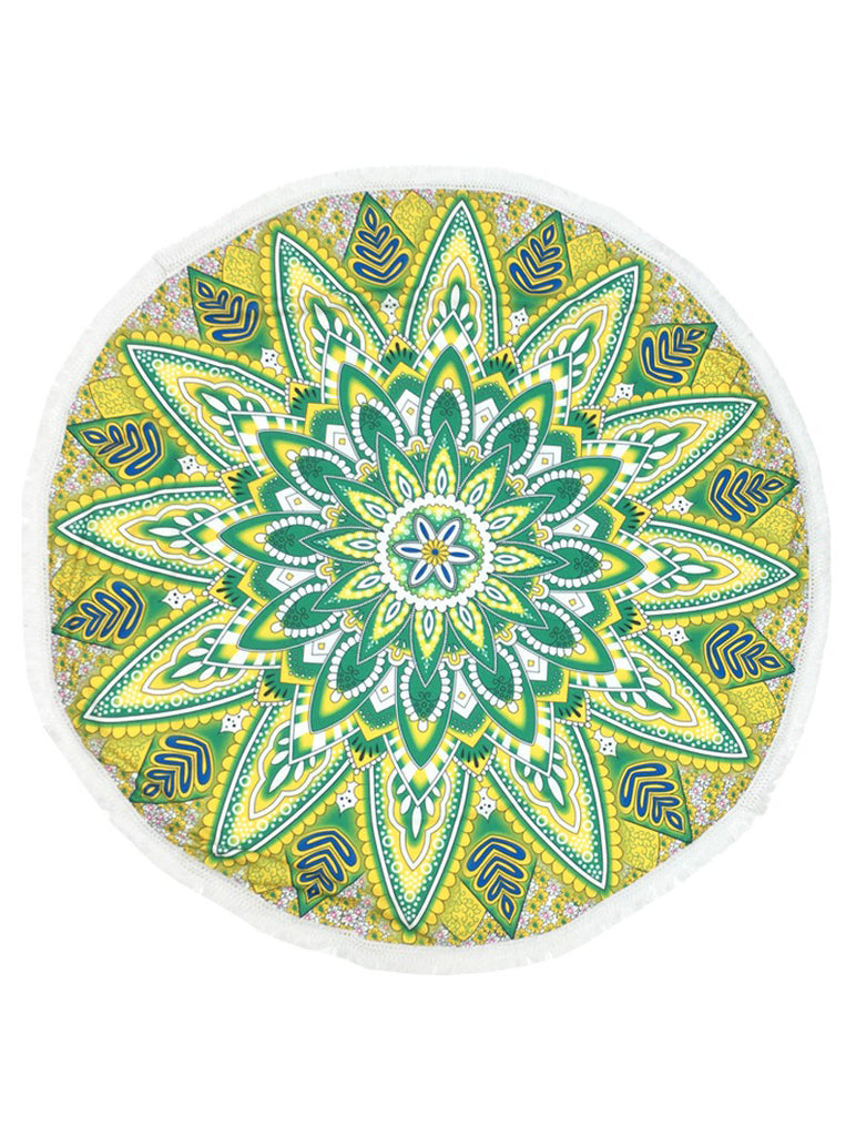 Mandala Faded Jade Fringe Towel Tapestry