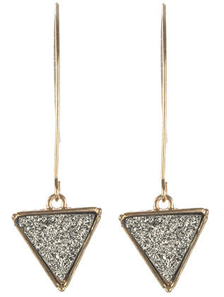 Triangular Silver Shimmer Natural Stone Earring