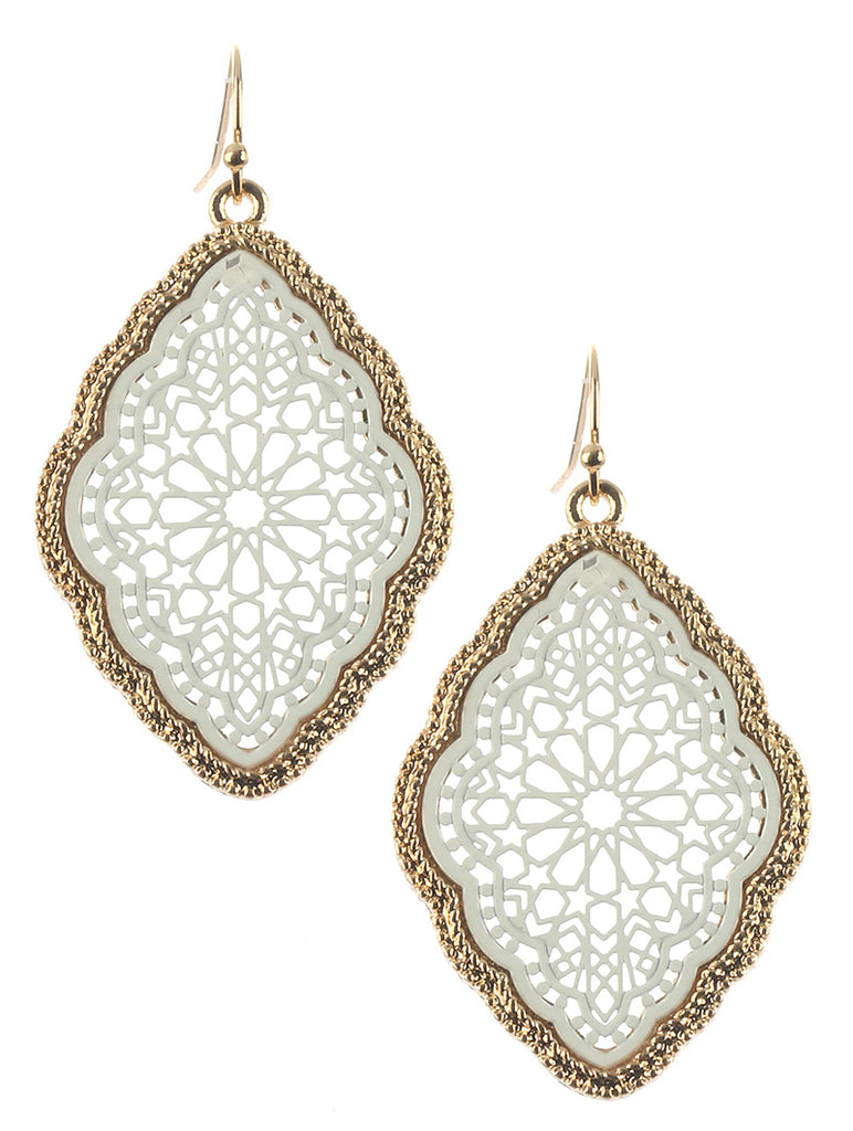 Bohemian Filigree Drape White Earring