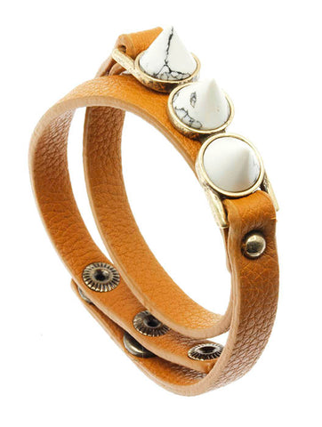 Triple Stud White Natural Stone Leather Wrap