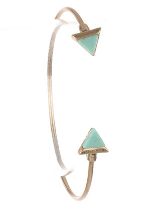 Teal Triangular Natural Stone Wire Bracelet