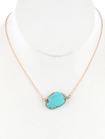 Natural Stone Turquoise Wire Wrapped Necklace