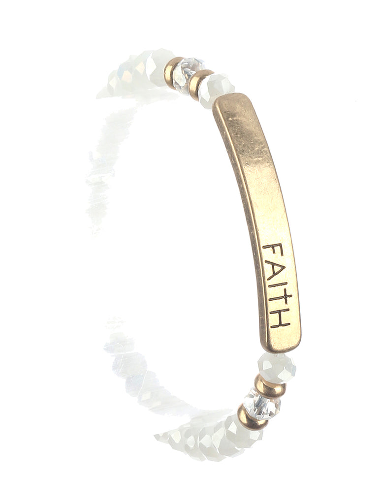 Gold Faith Glass Beaded Bracelet