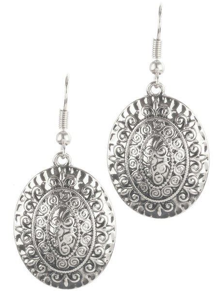Boho Convex Silver Earrings
