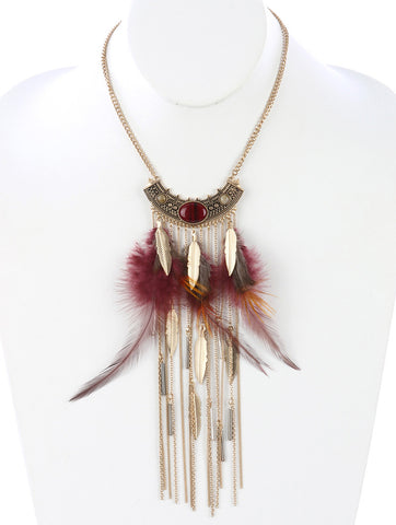Gypsy Style Feather Necklace Burgundy
