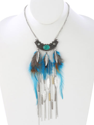 Gypsy Style Feather Necklace Blue