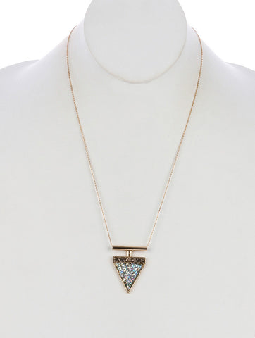 Triangle Glitter Finish Stone Necklace