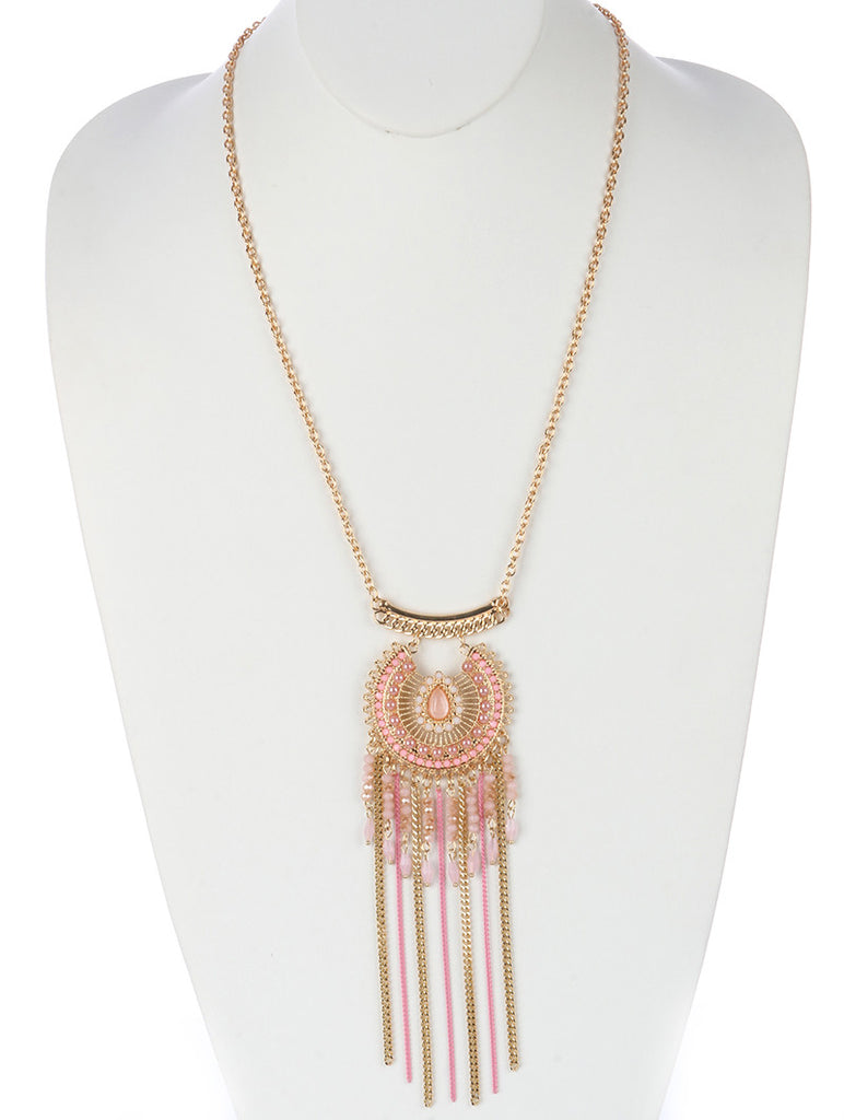 Vintage Filigree Chain Pink Fringe Necklace