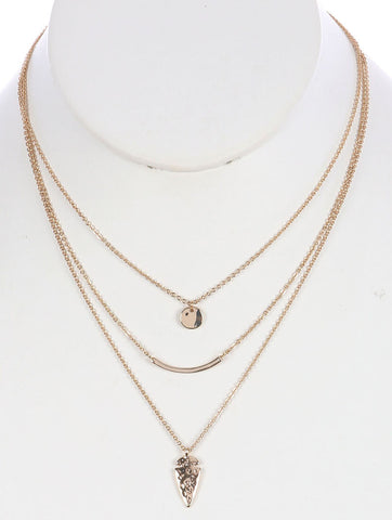 Gold Arrowhead Charm Layered Necklace