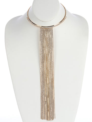 Vintage Long Fringe Gold Metal Choker