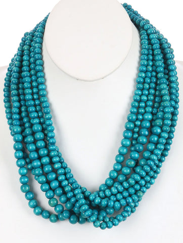 Wooden Teal Bead Multi-Layer Necklace