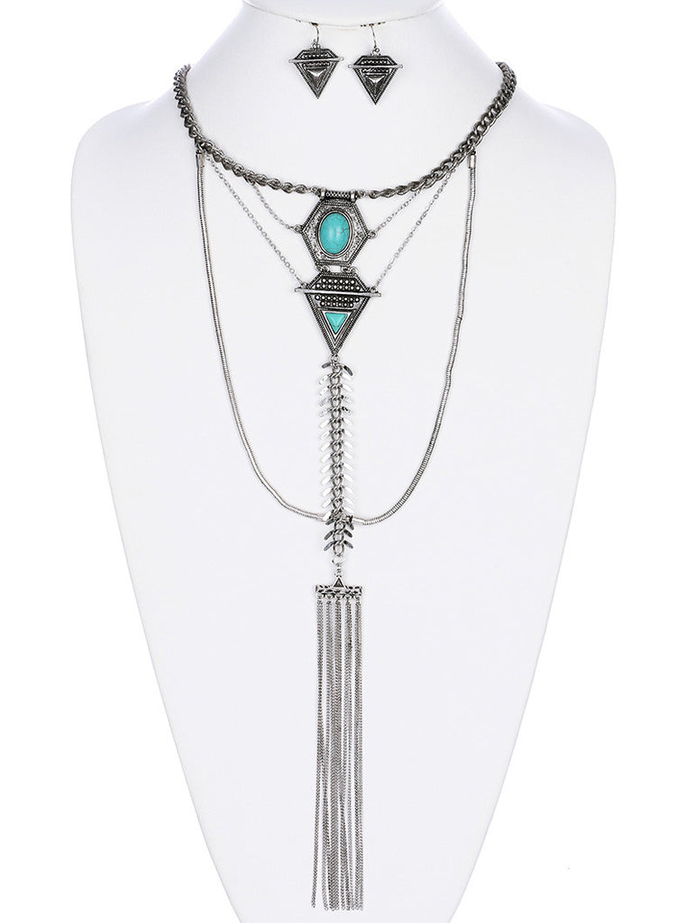 Symmetric Aged Silver Tassel Necklace and Earring Set