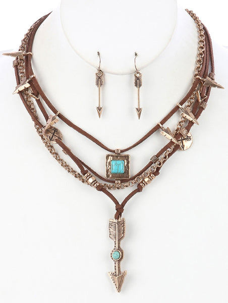 Gypsy Golden Arrow Layered Necklace