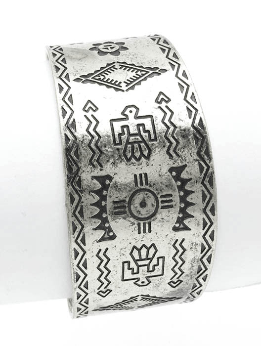 Finished Metal Cuff Etched Native American Symbol