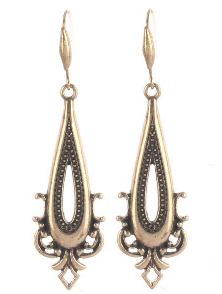 Elongated Aged Gold Teardrop Earring