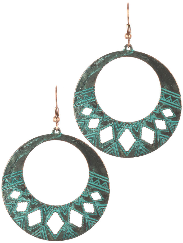 Gypsy Etched Turquoise Metal Earring
