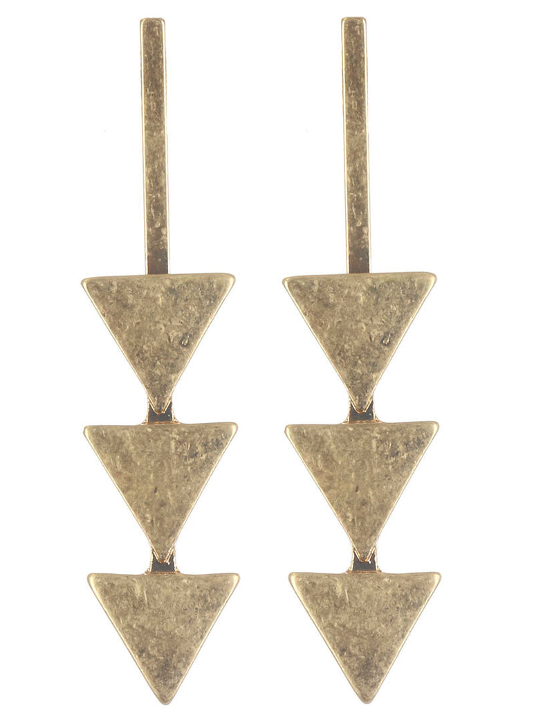 Matte Finish Gold Triangle Trio Earring