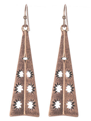 Rose Gold Aged Metal Semi Pyramid Earring