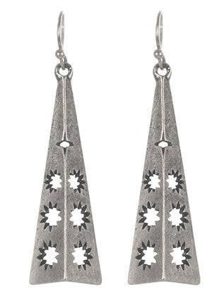 Silver Aged Metal Semi Pyramid Earring