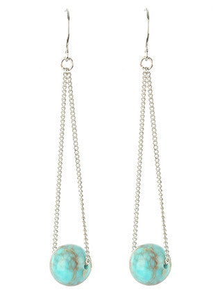 Natural Stone Tassel Turquoise Charm Earring